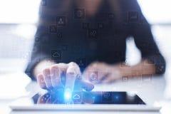 Calibre pour le texte, fond d'écran virtuel Affaires, concept de technologie Photographie stock