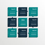 Calibre pour votre présentation d'affaires Huit étapes diagram, les flèches de processus, des options numérotées par 3D Photo libre de droits