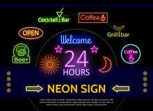 Calibre promotionnel rougeoyant d'enseignes au néon Photos libres de droits