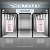 Calibre réaliste d'intérieur de magasin ou de bureau Illustration de boutique avec la vitrine, étagères, bannières illustration libre de droits