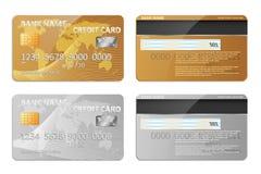 Calibre réaliste de carte bancaire d'or et d'argent d'isolement Encaissez la maquette en plastique de carte de crédit avec la con illustration de vecteur
