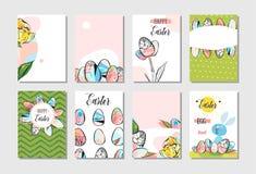 Calibre réglé vecteur d'abrégé sur de Pâques de salutation de collection heureuse créative tirée par la main de design de carte a Photographie stock