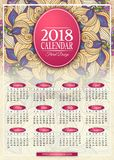 Calibre rectangulaire coloré de calendrier de 2018 ans Image stock