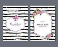 Calibre romantique de carte de vecteur universel avec les roses roses Faites gagner la date, douche nuptiale, anniversaire, carte Image libre de droits