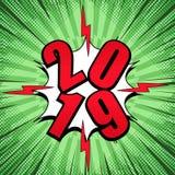 Calibre rouge comique de 2019 nombres illustration stock