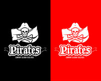 Calibre rouge et noir de logotype de crâne de pirates, insigne, logo, emblème Illustration d'isolement de logotype de pirate Photos stock