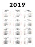 Calibre simple de 2019 calendriers, débuts de semaine dimanche illustration libre de droits