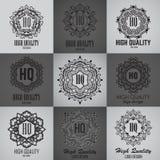 Calibre simple de conception de monogramme Ligne élégante conception d'ornement de cadre de logo Photographie stock libre de droits