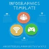 Calibre social d'Infographic de vecteur de réseau Cercle tiré par la main de couleur Images stock