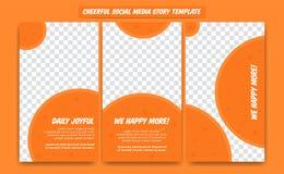 Calibre social gai de conception d'histoire de médias réglé dans la couleur joyeuse d'amusement de cercle d'acclamation heureuse  illustration de vecteur