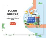 Calibre solaire de conception de vecteur de site Web d'énergie renouvelable illustration libre de droits