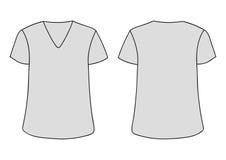 Calibre unisexe gris de T-shirt d'encolure du vecteur V Les arrières avant raillent  D'isolement sur le blanc illustration libre de droits