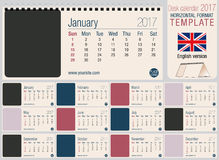 Calibre 2017 utile de calendrier de triangle de bureau Taille : 220mm x 100mm illustration stock