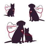 Calibre vétérinaire de logo de clinique avec le chat et le chien Illustration de vecteur Image libre de droits