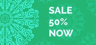 Calibre vert de bannière de vente avec le modèle de mandala Conception de bannière de remise de vente Photos libres de droits