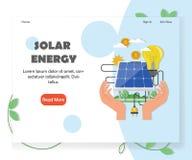 Calibre vert de vecteur de site Web d'énergie solaire et renouvelable illustration de vecteur