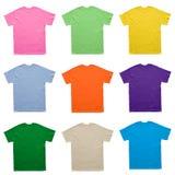 Calibre vide d'ensemble de couleur de T-shirt sur le fond blanc photographie stock