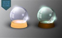 Calibre vide de globe de neige de vecteur d'isolement sur le fond transparent Boule de magie de Noël Dôme de boule en verre, supp illustration stock