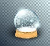 Calibre vide de globe de neige de vecteur d'isolement sur le fond transparent Boule de magie de Noël Dôme de boule en verre, supp illustration de vecteur