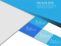 Calibres bleus de papier de conception, backgroun abstrait géométrique carré Photo stock