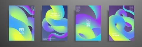 Calibres colorés réglés avec les éléments abstraits Conception liquide de mélange abstraite de couverture de formes de couleur Ap illustration de vecteur