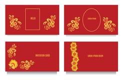 Calibres décoratifs pour des invitations, la salutation, des cartes de visite et des bons au style floral de khokhloma avec le fo Photos stock