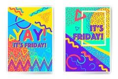 Calibres d'affiche de vecteur de Yay vendredi Photos libres de droits