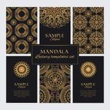 Calibres d'or de conception avec les ornements ronds et les modèles de mandala différent illustration libre de droits