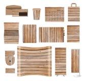 Calibres d'identité d'entreprise avec la texture du fond en bois Image libre de droits
