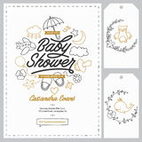 Calibres d'invitation de fête de naissance réglés Illustration tirée par la main de vintage Photo stock