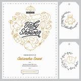 Calibres d'invitation de fête de naissance réglés Illustration tirée par la main de vintage Photos libres de droits