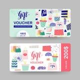 Calibres de bon de cadeau Carte de certificat de bon de remise avec des paniers et des éléments de mode Promotion des ventes, ban Image stock