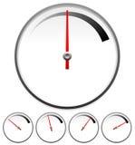 Calibres de cadran pour le concept de mesure réglé à 5 étapes Photographie stock libre de droits