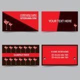 Calibres de carte de visite professionnelle de visite avec un verre de cocktail Ensemble de vecteur de conception de papeterie illustration de vecteur