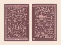 Calibres de carte de voeux de Noël et de nouvelle année avec les décorations traditionnelles de vacances dessinées avec des courb illustration stock