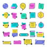 Calibres de citation Objets graphiques de vecteur de formes de rectangle de remarques de notes des textes de blog illustration de vecteur