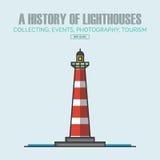 Calibres de conception de logo de phare de vecteur dans le style linéaire à la mode Image libre de droits