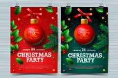 Calibres de conception de fête de Noël, affiches avec la boule et la décoration de Noël, illustration de vecteur illustration de vecteur