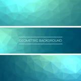 Calibres de design d'entreprise Ensemble de bannières avec les milieux polygonaux de mosaïque Résumé triangulaire géométrique Vec Photo stock