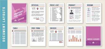 Calibres de disposition de rapport de document réglés Photographie stock
