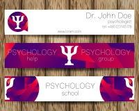 Calibres de fond ou d'en-tête de conception de bannière de Web de psychologie de vecteur Logo de livre par pouce carré illustration de vecteur