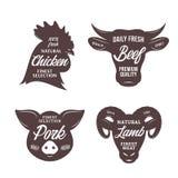 Calibres de logo de boucherie Icônes d'animal de ferme illustration de vecteur