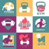 Calibres de logo de centre de sport de gymnase et de centre de fitness ou de séance d'entraînement réglés illustration de vecteur