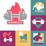 Calibres de logo de centre de sport de gymnase et de centre de fitness ou de séance d'entraînement réglés illustration stock