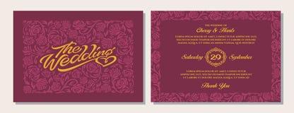 Calibres de luxe d'invitation de mariage Fond marron rouge Images stock