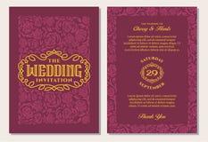 Calibres de luxe d'invitation de mariage de vintage Fond marron rouge Images stock