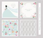 Calibres de mariage réglés Conception élégante d'enveloppe de coupe-circuit, carte d'invitation de silhouette de jeune mariée et  illustration de vecteur