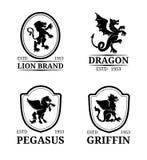Calibres de monogramme de crête de vecteur Pegasus de luxe, dragon, lion, conception de griffon Illustrations gracieuses de silho illustration de vecteur