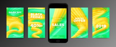 Calibres de papier peint de téléphone avec la forme 3d abstraite illustration libre de droits