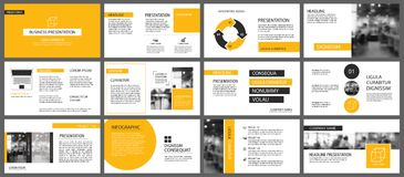 Calibres de présentation et backgrou jaunes d'éléments d'infographics illustration stock